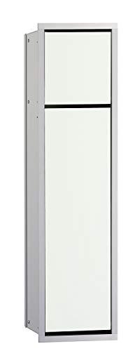 Emco Asis 150 inbouw badkamerkast voor WC, chroom/glas wit, inbouwkast, deurscharnier naar keuze - 974027840