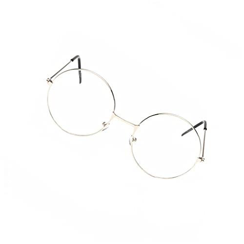 Yililay Gafas Redondas Unisex Vintage Marco de Metal Lentes Retro Lente Transparente Eyewears Daily Hogar Artículos