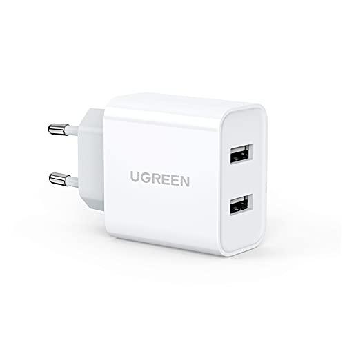 UGREEN Cargador USB de Red con Doble USB 5V 3.1A Cargador Rápido Móvil 5V 2.4A para iPhone, Samsung, Xiaomi, Huawei, HTC, Google, LG, Nokia, iPad, Tablet y Auriculares TWS Bluetooth - Blanco