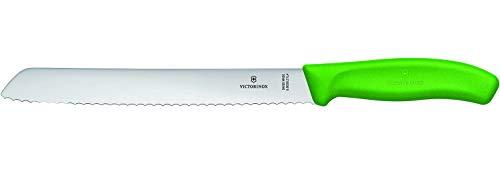 Victorinox Swiss Classic Brotmesser mit Wellenschliff, 21 cm Klinge, Rostfrei, Edelstahl, Spülmaschinengeeignet, grün