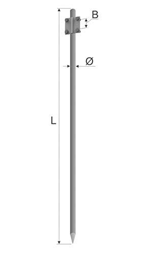 Grondverf aarding Ø16 1,25m V4A roestvrij staal volgens DIN 50164-2