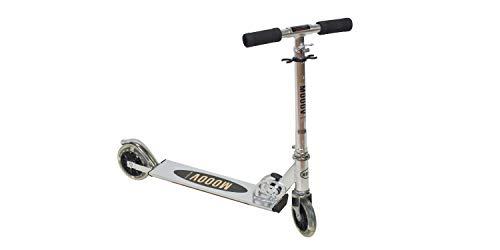 GIL-Design Alu Roller silberner Faltbarer Roller LED-Räder Zweirad Höhenverstellbare Lenkerstange Belastbarkeit Maximal 50 kg Roller mit Bremse Tragbar
