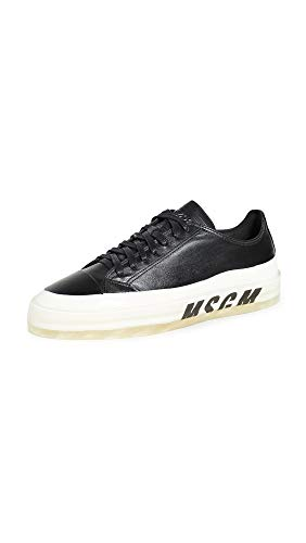 MSGM Men's Dipped Sole Sneakers, Black/White, 11 Medium US