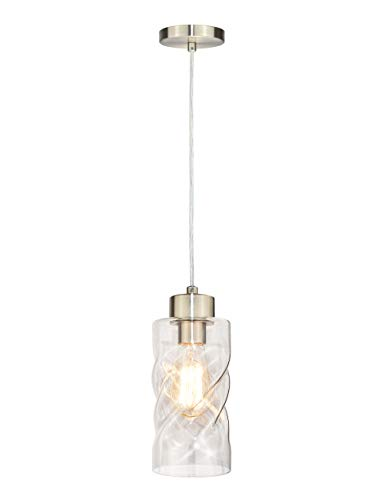 Pendant Light Fixtures, Mini Pendant Lighting with Clear Twisted Glass, Adjustable Ceiling Hanging Lights, Perfect Kitchen Light Fixtures in Brush Nickel