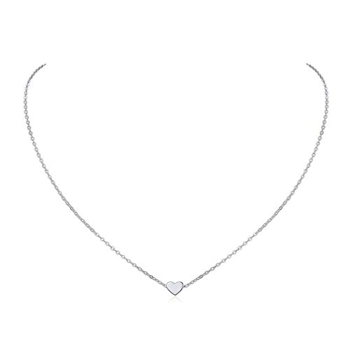 Silver Heart Necklace for Women 925 Sterling Silver Minimalist Jewelry Tiny Charm Pendant with 16 Inch Chain Valentine's Day Gift