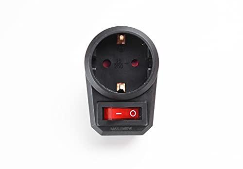 Adaptador Enchufe con interruptor color negro 16A 250V MAX 3680W.