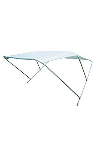 Shop SoftAir® Capottina Parasole Tendalino Pieghevole in Alluminio a 3 Archi Telo Resistente Colore Bianco per Barca Gommone Larghezza 170 cm