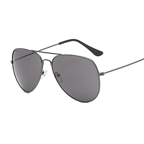 FDNFG Espejo de Plata Pequeñas Gafas de Sol Hombre Piloto Piloto Gafas de Sol Mujeres Hombres Sombras Top Fashion Gafas Gafas de Sol (Lenses Color : Gun Gray)