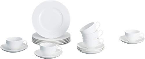 Villeroy und Boch - Royal Kaffee-Set, 18 tlg., stilvoll servieren und genießen, Premium Porzellan, spülmaschinen-, mikrowellengeeignet, weiß