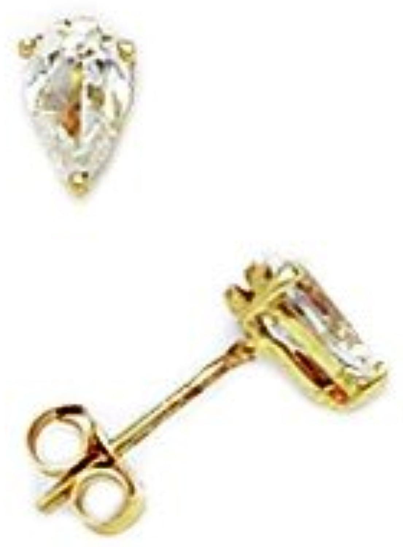 14ct Yellow gold 5x5mm Pear Cubic Zirconia Basket Set Earrings