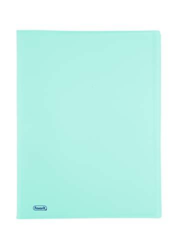 Favorit 400116606 Portalistino P@STEL con 20 Buste Lisce, Formato Interno 22x30 cm, colore celeste pastello