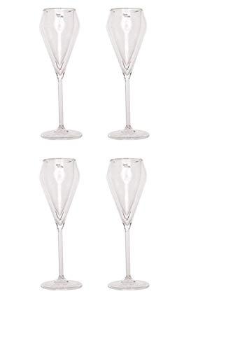GMMH Cosy Trendy Champán Cristal 4Pieza Doble Pared Copas de Champagne Cristal Vasos térmicos