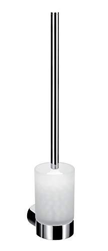 Emco Fino Toilettenbürsten-Garnitur, Glas satiniert/chrom, Toilettenbürste mit Bürstenhalter, Wandmontage – 841500100