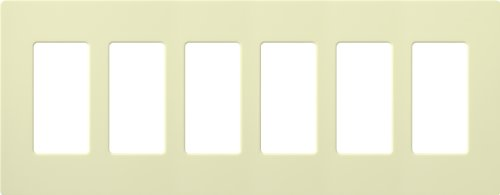 Lutron CW-6-AL CLARO WALLPLATE 6 GNG ALMOND Electrical Distribution Wall Plate