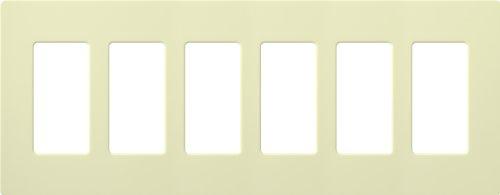 Lutron CW-6-AL CLARO WALLPLATE 6 GNG ALMOND Electrical Distribution Wall Plate