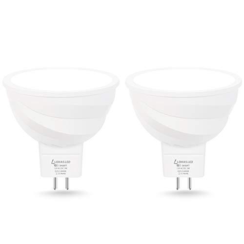 LOHAS GU5.3 LED Smart Lampe MR16 LED 5W = 35W 6000K Kaltweiß Kompatibel mit APP Alexa Google Home Echo Stimmenkontrolle Gruppensteuerung Wlan LED 400 lumens 12V 2er Pack