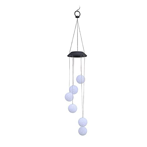Naisidier Romántico Bola de Cristal LED Viento del Viento Chime Impermeable Color Cambiante Solar Powered Outdoor Wind Bell Light para Patio Garden Home Solar Wind Thime Wind Wind
