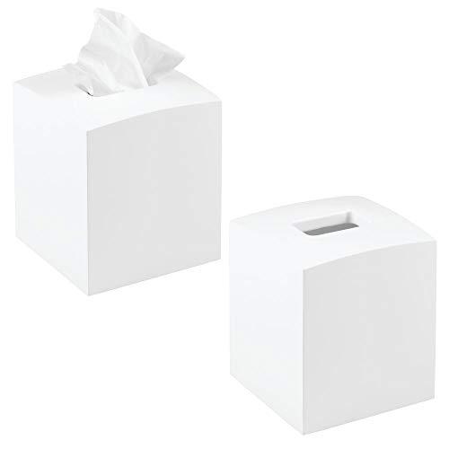 mDesign Kosmetiktücherbox quadratisch - praktische Papiertuchbox für Hygienepapier im Badezimmer - Tissuebox in modernem & elegantem Design - Farbe: weiß - 2er-Set