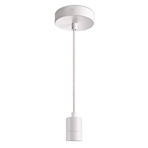 Paco Home Pendelleuchte Stabile Lampenaufhängung E27 1,5m Textilkabel Kürzbar Einfache Montage Für Alle Gängigen Schirme Geeignet, Leuchtmittel:ohne Leuchtmittel, Farbe:Weiß