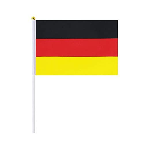 GenericBrands Bandera de Alemana Mini Bandera Pequeña de Mano Bandera de Palo Alemania Copa Mundial Fans Support Decoraciones (Como se muestra)