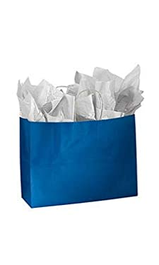 """SSWBasics Large Glossy Royal Blue Paper Shopping Bags - 16""""L x 6""""D x 12 ½""""H - Case of 25"""