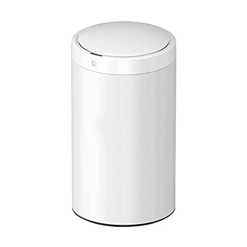 Cubo de Basura Bote de Basura Inteligente de Acero Inoxidable Bote de Basura para Sala de Estar del hogar con Tapa Bote de Basura de inducción de Cocina Redondo, 5.2 galones / 7.9 galones CU