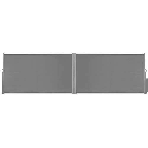 vidaXL Toldo Lateral Retráctil de Acero y Tela 180x600cm Gris Biombo de Jardín