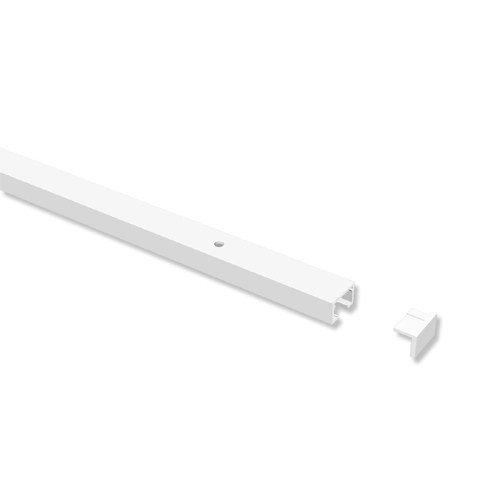 INTERDECO Gardinenschienen vorgebohrt Weiß 1-läufige Vorhangschienen aus Aluminium, Primax, 200 cm