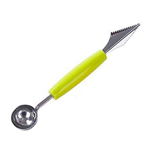 PPuujia 1 cuchillo creativo para tallar frutas 2 en 1, sandía baller helado, cuchara para excavar, herramienta de verduras, utensilios de cocina caliente (color verde)