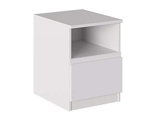 Iconico Home MIK Modern, Comodino con cassetto e vano a giorno, Camera da letto, Cameretta ragazzi, 40x44,5xh53,5 cm, Bianco