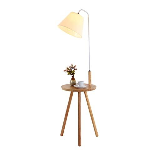 HXJU Lámparas de trípode de pie, lámpara de pie y Lectura LED con luz de Tres Tonos y Mesa pequeña, luz de Estudio de diseño Moderno para Salas de Estar y dormitorios White
