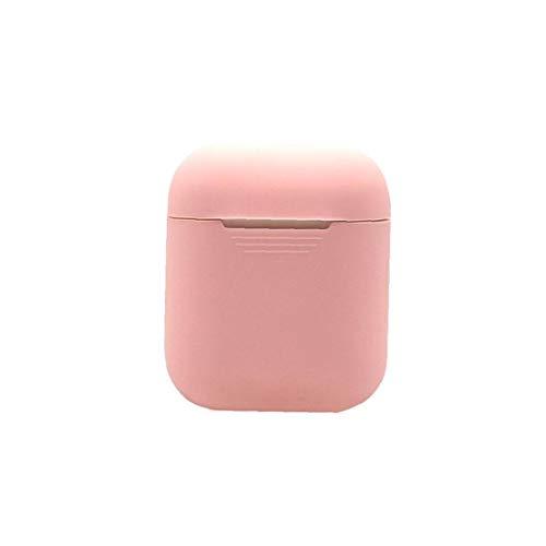 Odoukey Cubierta Protectora del Auricular Caso Suave de Silicona para Auriculares Caso de la Bolsa de Almacenamiento Compatible con Apple Airpods Rosa Claro