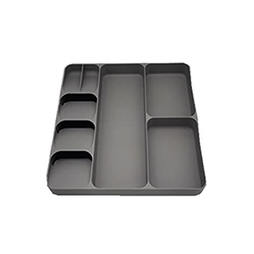 BOENXUA Sistema de Organizador del cajón Insertar cajón de Cocina Bandeja de Cubiertos Plástico Extensible 39.7 x 38.4 x 5,3 Cm,Marrón