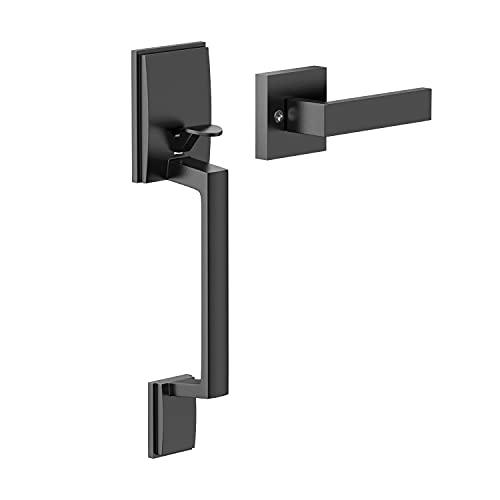 Front Door Handle, Exterior/Interior Entry Lower Half Handleset Single Cylinder Lever, Century Trim for Left and Right Door Matte Black