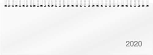 rido/idé 703170100 Tischkalender/Querterminbuch ac-Wochenquerterminer (2 Seiten = 1 Woche, 307 x 105 mm, Karton-Einband Trucard, Kalendarium 2020, Wire-O-Bindung) weiß