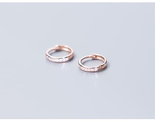 Joyería De Moda De Circonita Transparente Redonda con Encanto Simple 100% Plata De Ley 925 Pendientes De Aro De Color Oro Rosa para Regalo De Mujer