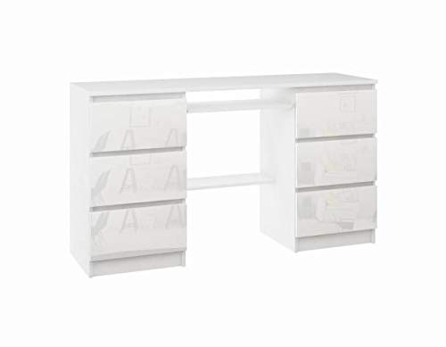 Schreibtisch mit Tischplatte, darunter EIN Tastaturauszug, weiß Hochglanz