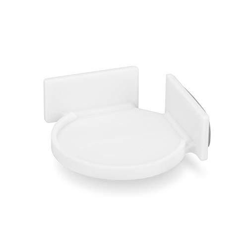 Brainwavz - Soporte de esquina circular para cámaras de seguridad, monitores de bebé, altavoces, plantas y más, soporte universal, resistente adherente, sin ensuciar, sin tornillos (blanco)