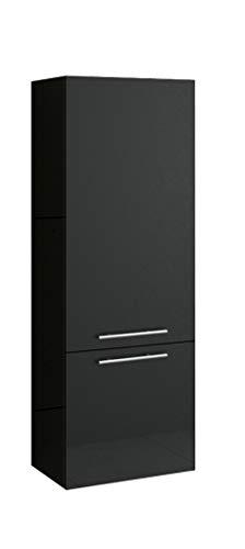 SAM Bad-Hochschrank Barca, Hochglanz schwarz, 2 Türen, Badmöbel, Badezimmerschrank, Soft-Close, 40 x 35 x 120 cm