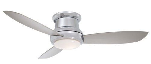 Minka-Aire F518-PN Flush Mount, 3 Silver / Pewter Bladed, Smart Ceiling fan with 44 watts light, Polished Nickel