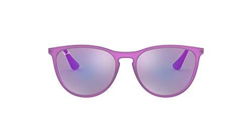 Ray-Ban Izzy Rj9060Sf - Gafas de sol para niños 70084V Violeta Fluo Trasp de goma/Gris Espejo Violeta