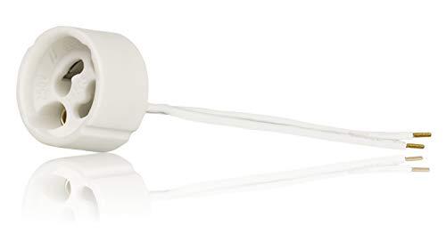 GU10 Standard Keramik Fassungen mit Aderendhülsen gecrimpt VDE RoHS 230-250 Volt 2A max.100W 0,75mm2 Kabel LED Halogen (hier: 1 Stück)