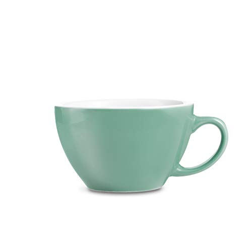 LOVERAMICS Egg Style Cappuccino Cup and Saucer, 200ml (6.7 oz) (Mint, 6)