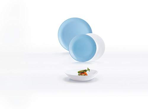 Luminarc Diwali Vajilla de vidrio opal extra resistente para 6 personas, 18...