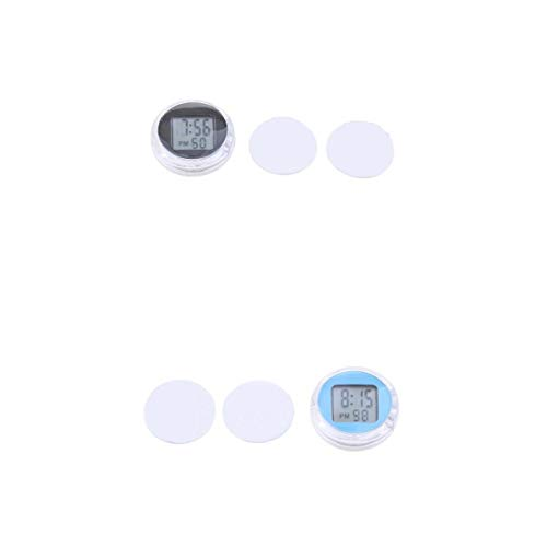 2 Pcs reloj Digital Impermeable para Motocicleta universal Negro Y Azul