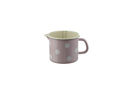 Münder-Emaille - Milchtopf - Rosa mit weißen Tupfen - Ø12cm - 1 L