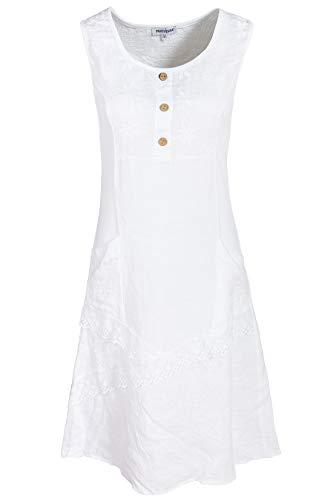 PEKIVESSA Leinenkleid Damen Stickerei ärmellos Knielang Weiß 46 (Herstellergröße XXXL)