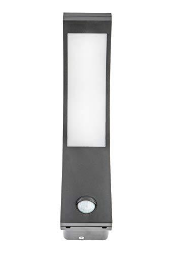 HUBER LED Wandlampe mit Bewegungsmelder 140°, bogen, anthrazit, 10 W, 750 Lumen, tageslichtweiß, IP54