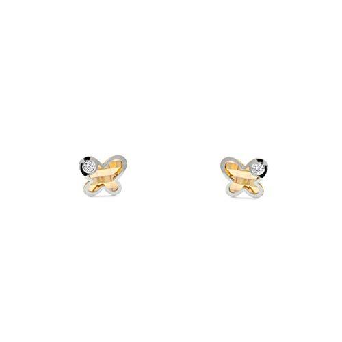Pendientes Oro Bebe o Niña mariposa bicolor con circon (9kts)