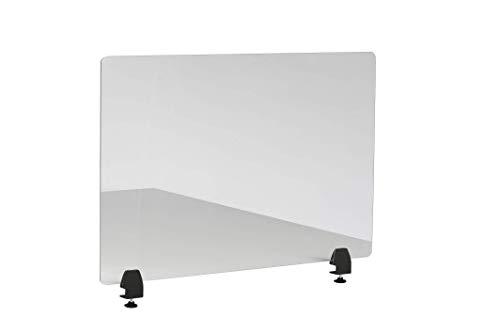 PlexiDirect Trennwand Spuckschutz für Büro aus Acrylglas Mit Tischklemme für Einfache Montage, Plexiglas Schutzwand, Schwarze Tischklemme, Große Büroschirm: 150 x 75 cm (BxH)